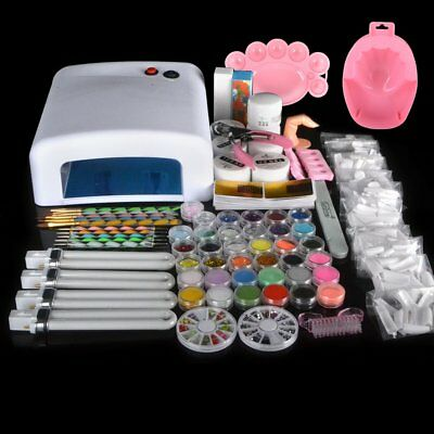 Beauty Acrylic Nail Art Kit Set Gel Polish Brush Curing Dryer Light 36W UV Lamp