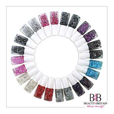 24 x Glitter Nail Polish Varnish Set For Artificial Nails Many Different Shades