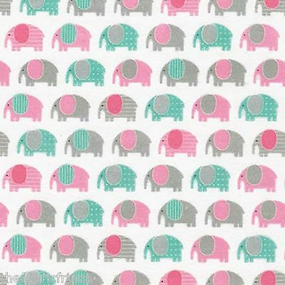 Robert Kaufman Children Mini Elephant Cute Animal Fun Fabric Fat Quarter or 1/2m