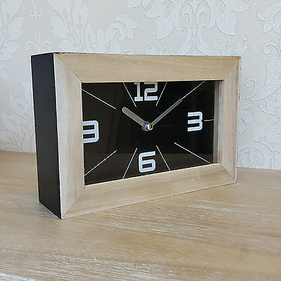 Retro Style Mantle Clock Wooden Rectangle Black Face Home Gift Wall