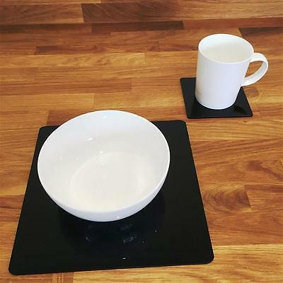 Black Square Placemat and Coaster Set