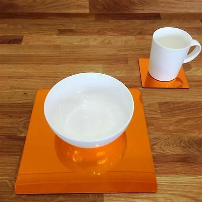 Mirrored Orange Square Placemat and Coaster Set