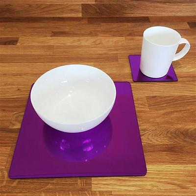 Mirrored Purple Square Placemat and Coaster Set