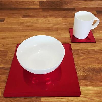 Mirrored Red Square Placemat and Coaster Set