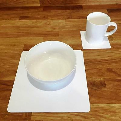 White Square Placemat and Coaster Set