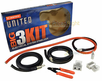 1/0 Gauge AWG Big 3 Kit Cable Upgrade Wiring Cadence United Series Complete Set