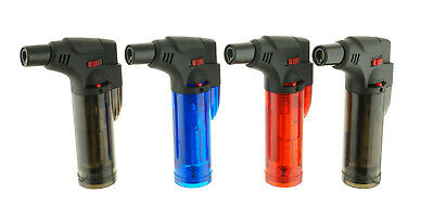 Triple Jet Torch Lighter Adjustable Windproof Butane Refillable with Cigar Punch