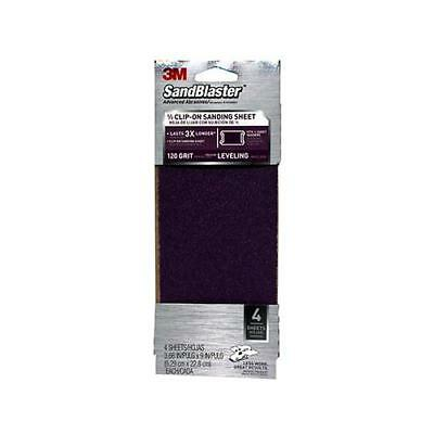 3M 9653 Sanding Sheets, Clip-On, 120-Grit, 3-2/3 x 9-In., 4-Pk. - Quantity 1