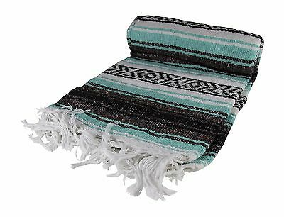 """Teal Authentic Mexican Blanket Hand Woven 73"""" X 48"""""""