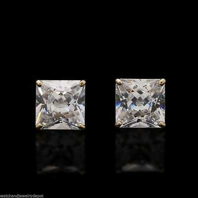 2Ct Created Diamond Princess Cut 14K Solid Yellow Gold Stud Earrings 6mm