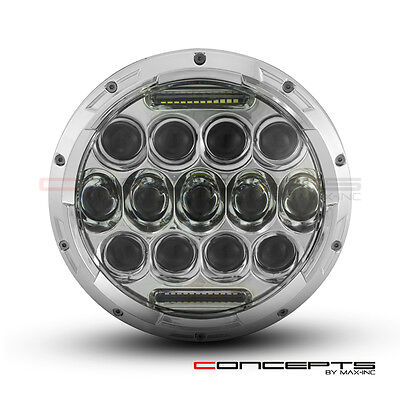 """7"""" Chrome Harley Motorcycle Multi Projector LED Headlight + DRL Insert - 75w"""