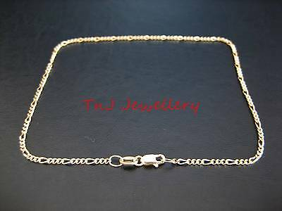 NEW Genuine 9k 9ct Yellow Solid Gold Diamond Cut Figaro 3.1 Anklet Free Postage