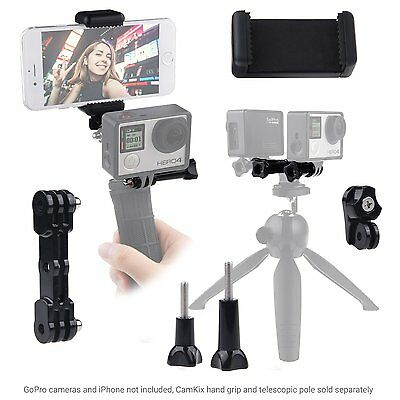 Dual Mount fr GoPro Hero with Tripod Adapter and Universal Phone Holder - Record