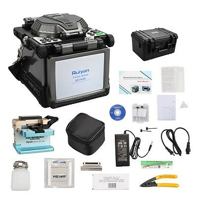 "5.6"" LCD Display RY-F600 Fusion Splicer w/Optical Fiber Cleaver Automatic Focus"
