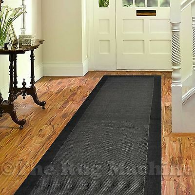 ILUKA OUTDOOR INDOOR BLACK MODERN FLOOR RUG RUNNER 80x300cm **UV & WATER PROOF**