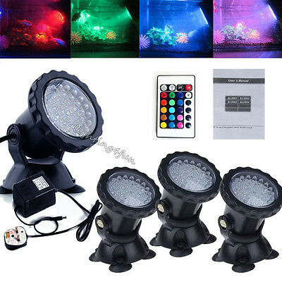 4x LED Color Changing Fish Tank Swimming Pool Pond Piscina Underwater Spot Light