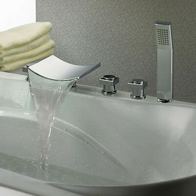 Contemporary 5 Holes 3 Handle Waterfall Roman Tub Filler Faucet & Hand Shower