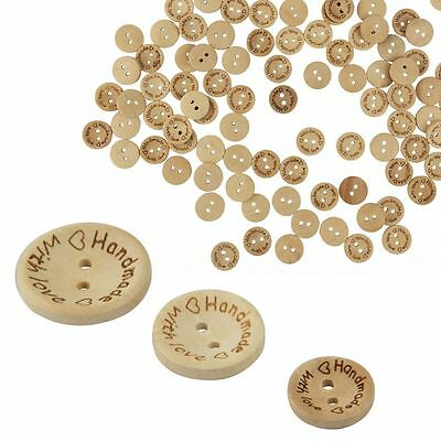 100pcs Wood Butterfly Handmade 2 Holes Wooden Buttons Sewing Scrapbooking DIY