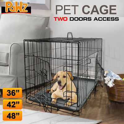 "Pawz Collapsible Metal Pet Cage Crate Kennel for Dog Cat Rabbit 36"" 42"" 48"""