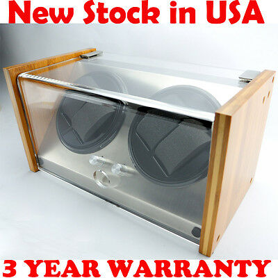 Bamboo Crystal Automatic Rotation Dual Double 4 Watch Winder Display Case Box