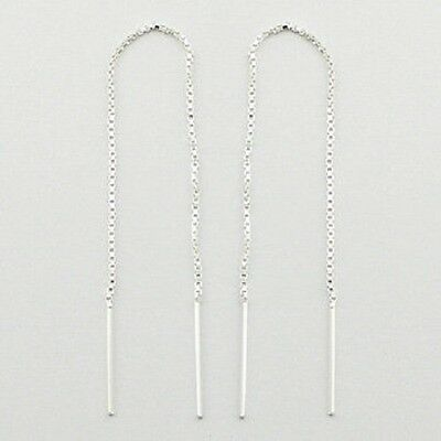 Threader earrings 925 sterling silver dangle Box Chain 107mm long new fashion