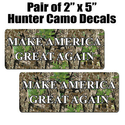 "Make America Great Again Decal Set.  Hunter Camo Trump Stickers.  2""x5"" decals"