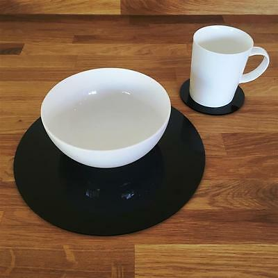 Black Round Placemat and Coaster Set