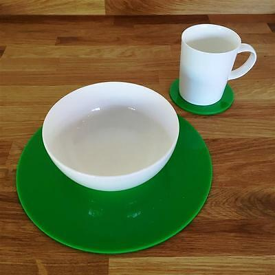 Bright Green Round Placemat and Coaster Set