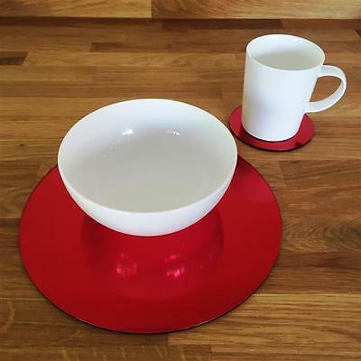 Mirrored Red Round Placemat and Coaster Set