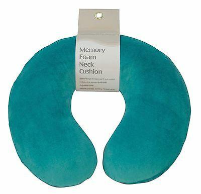 Soft Velour Memory Foam Comfort Neck Support Car Home Plane Cushion Pillow Teal