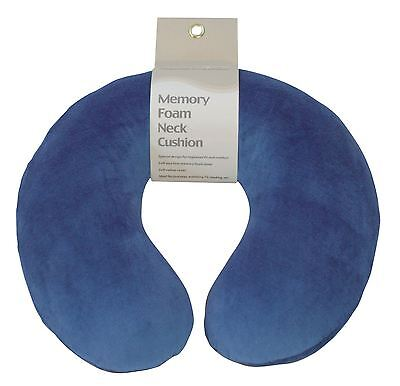 Blue Soft Velour Memory Foam Comfort Neck Support Car Home Plane Cushion Pillow