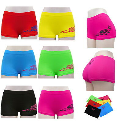 6 PK LADIES PANTIES UNDERWEAR BOXER SHORTS SEAMLESS BOYSHORTS HEART DESIGN