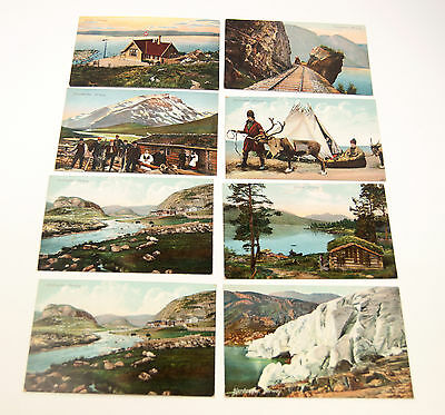 Vintage lot of 8 Postcards of Norway towns