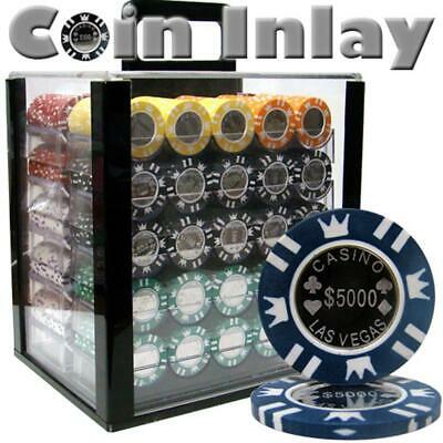 Poker Supplies 1000 Ct Acrylic Standard Breakout-Coin Inlay 15 Gram Chips