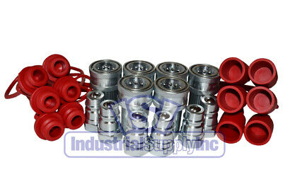 "6PK 1/2"" Agricultural Hydraulic Hose Quick Coupler  W/ Cap & Plug"