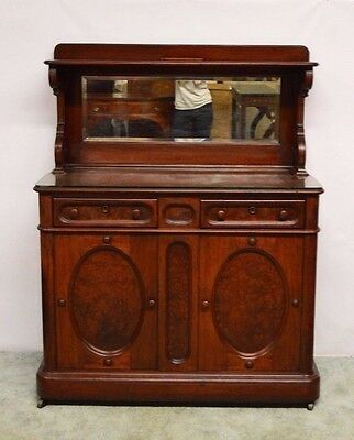 Antique 1800's Victorian Carved Walnut & Burl  Mirrored Sideboard Server Buffet