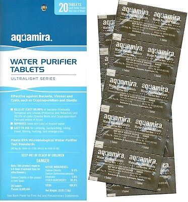 Water Purification Tablets Aquamira 20 Per Pack Each Tablet Does 1 Liter 9432