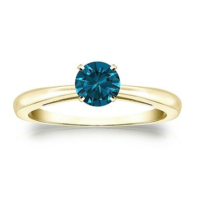2 Ct Round Blue Real 14K Yellow Gold Solitaire Promise Engagement Wedding Ring