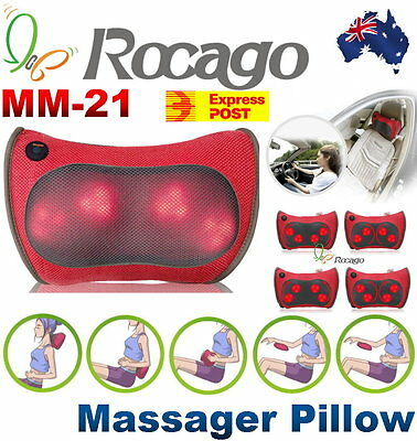 NEW Rocago MM-21 Portable Massage Pillow with Heating for Home Office Car Travel
