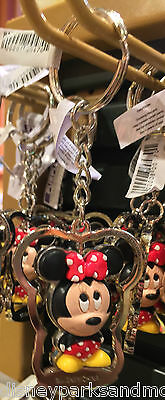 Disney Parks Exclusive Spinning Minnie Mouse Metal Keychain New With Tag