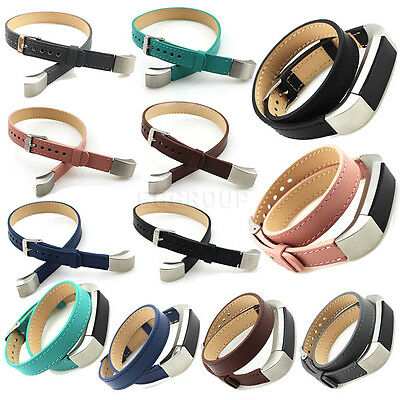 For Fitbit Alta Fashion Double Tour Genuine Leather Watch Band Strap Bracelet