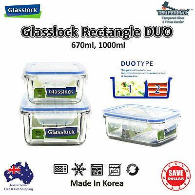 Glasslock DUO Tempered Glass Food Container Storage BPA FREE Microwave Safe