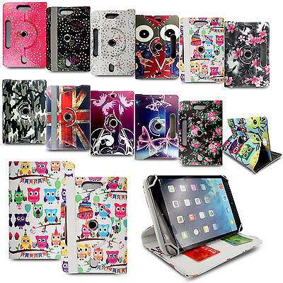 """UNIVERSAL 360° Folio LEATHER STAND Case COVER FOR 9"""" 10"""",10.1"""" TABLET ANDROID PC"""