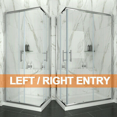 Corner Entry Shower Enclosure and Tray&Waste Walk in Cubicle Sliding Glass Door