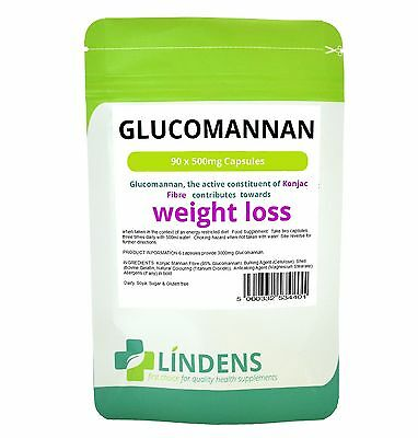 Glucomannan Konjac Fibre Capsules Pills 500mg x 90 Diet Weight Suppress Appetite