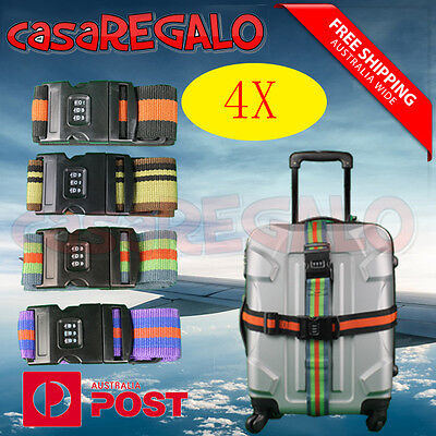 4x Travel Luggage Suitcase Bag Packing Secure Safe Strap Belt Password Lock