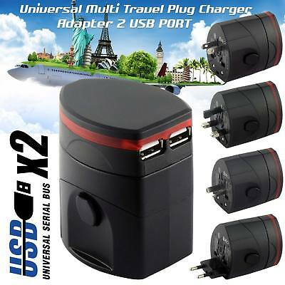 New World Wide Universal Travel Adapter Multi Plug Charger with Dual USB PORT UK