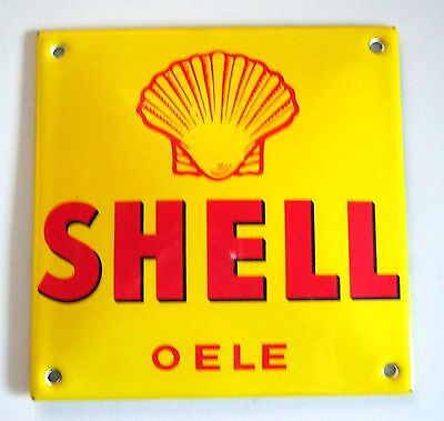 Emailschild SHELL OELE 120 X 120 mm