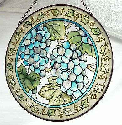 Vintage Stained Glass Window Hanging Suncatcher Grapes Green Unbranded