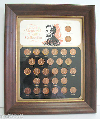 Vintage Lincoln Memorial Cent Collection 1959-1971 Framed Nice Condition